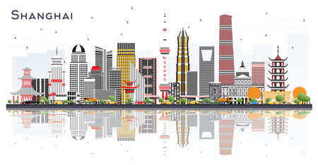 Shanghai China City Skyline with Color Buildings and Reflections Isolated on White. Vector Illustration. Business Travel and Tourism Concept with Modern Architecture. Shanghai Cityscape with Landmarks.