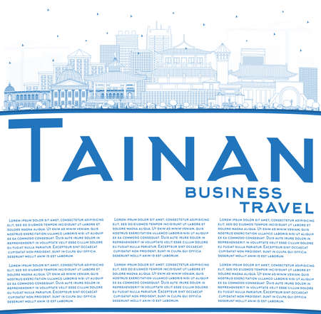 Outline Tainan Taiwan City Skyline with Blue Buildings and Copy Space. Vector Illustration. Business Travel and Tourism Concept with Historic Architecture. Tainan Cityscape with Landmarks.