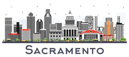 Sacramento California City Skyline with Gray Buildings Isolated on White. Vector Illustration. Business Travel and Tourism Concept with Modern Architecture. Sacramento USA Cityscape with Landmarks.