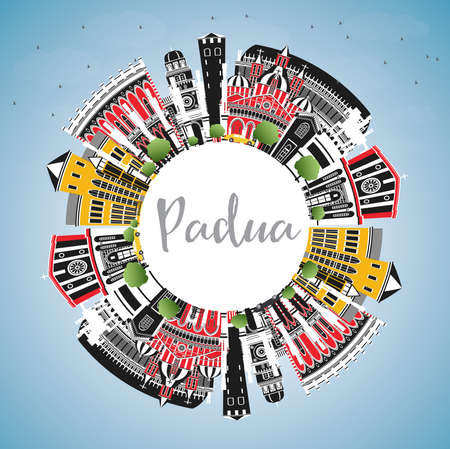Padua Italy City Skyline with Color Buildings, Blue Sky and Copy Space. Vector Illustration. Business Travel and Concept with Historic Architecture. Padua Cityscape with Landmarks.