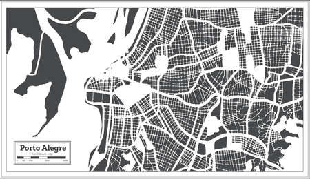 Porto Alegre Brazil City Map in Retro Style. Outline Map. Vector Illustration.