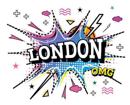 London Comic Text in Pop Art Style Isolated on White Background. Vector Illustration.