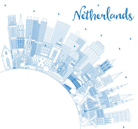 Outline Netherlands Skyline with Blue Buildings and Copy Space. Vector Illustration. Tourism Concept with Historic Architecture. Cityscape with Landmarks. Amsterdam. Rotterdam. The Hague. Utrecht. Stock Illustratie