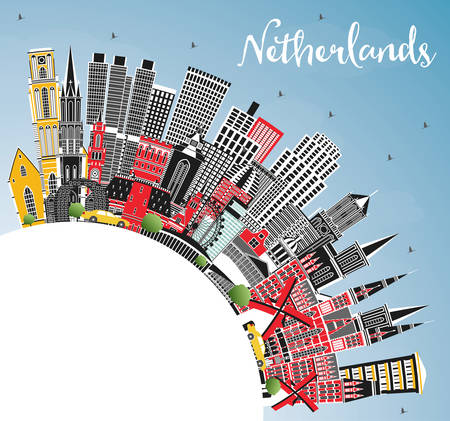 Netherlands Skyline with Gray Buildings, Blue Sky and Copy Space. Vector Illustration. Tourism Concept with Historic Architecture. Cityscape with Landmarks. Amsterdam. Rotterdam. The Hague. Utrecht.