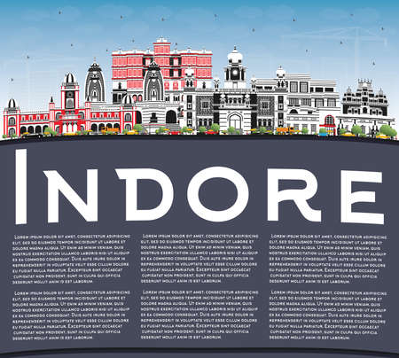 Indore India City Skyline with Gray Buildings, Blue Sky and Copy Space. Vector Illustration. Business Travel and Tourism Concept with Historic and Modern Architecture. Indore Cityscape with Landmarks.