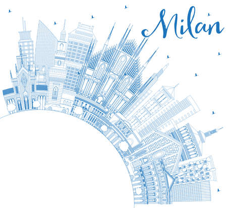 Outline Milan Italy City Skyline with Blue Buildings and Copy Space. Vector Illustration. Business Travel and Concept with Historic Architecture. Milan Cityscape with Landmarks.