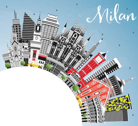 Milan Italy City Skyline with Color Buildings, Blue Sky and Copy Space. Vector Illustration. Business Travel and Concept with Historic Architecture. Milan Cityscape with Landmarks.