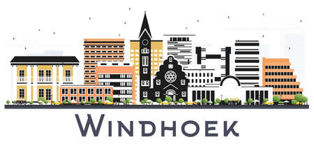 Windhoek Namibia City Skyline with Color Buildings Isolated on White. Vector Illustration. Business Travel and Tourism Concept with Modern and Historic Architecture. Windhoek Cityscape with Landmarks.