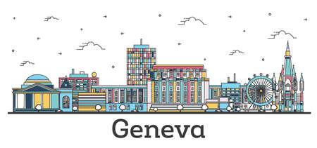 Outline Geneva Switzerland City Skyline with Color Buildings Isolated on White. Vector Illustration. Geneva Cityscape with Landmarks.