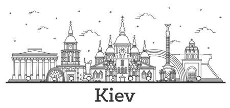 Outline Kiev Ukraine City Skyline with Historic Buildings Isolated on White. illustration. Kiev Cityscape with Landmarks.