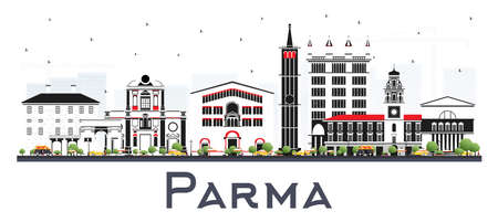 Parma Italy City Skyline with Color Buildings Isolated on White. Vector Illustration. Business Travel and Tourism Concept with Modern and Historic Architecture. Parma Cityscape with Landmarks.