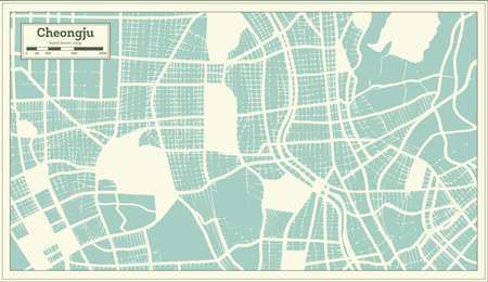 Cheongju South Korea City Map in Retro Style. Outline Map. Vector Illustration.
