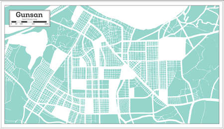 Gunsan South Korea City Map in Retro Style. Outline Map. Vector Illustration.