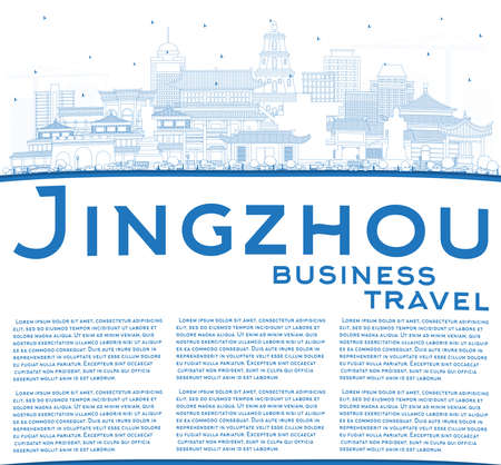 Outline Jingzhou China City Skyline with Blue Buildings and Copy Space. Vector Illustration. Business Travel and Tourism Concept with Historic and Modern Architecture. Jingzhou Cityscape with Landmarks. Иллюстрация