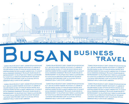 Outline Busan South Korea City Skyline with Blue Buildings and Copy Space. Vector Illustration. Business Travel and Tourism Concept with Historic and Modern Architecture. Busan Cityscape with Landmarks. Иллюстрация