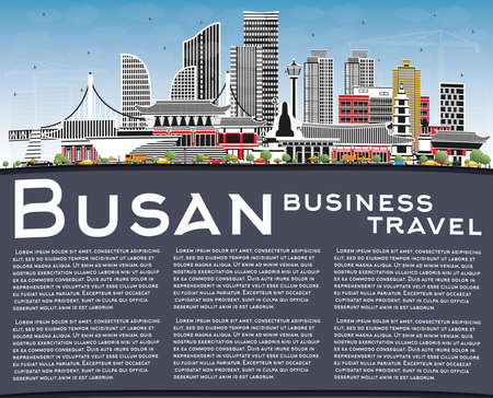 Busan South Korea City Skyline with Color Buildings, Blue Sky and Copy Space. Vector Illustration. Business Travel and Tourism Concept with Historic and Modern Architecture. Busan Cityscape with Landmarks. Иллюстрация