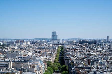 Paris. France - May 15, 2019: Avenue de Wagram. View from Arc de Triomphe in Paris. France. Tribunal de Paris on Background. Editorial