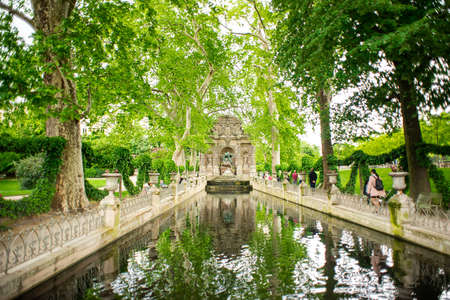 Paris. France - May 17, 2019: Medici Fountain in Luxembourg Garden. Paris. France.