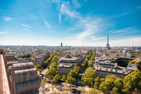 Beautiful Panoramic View of Paris with Eiffel Tower from the Roof of Triumphal Arch. France. Stock Photo
