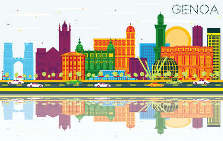 Genoa Italy City Skyline with Color Buildings, Blue Sky and Reflections. Vector Illustration. Business Travel and Tourism Concept with Modern Architecture. Genoa Cityscape with Landmarks.