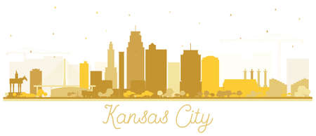 Kansas City Missouri Skyline Silhouette with Golden Buildings Isolated on White. Vector Illustration. Business Travel and Tourism Concept with Modern Architecture. Kansas City Cityscape with Landmarks.