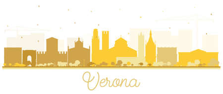 Verona Italy City Skyline Silhouette with Golden Buildings Isolated on White. Vector Illustration. Business Travel and Tourism Concept with Historic Architecture. Verona Cityscape with Landmarks.