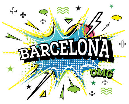 Barcelona Comic Text in Pop Art Style Isolated on White Background. Vector Illustration.