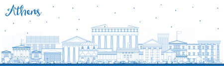 Outline Athens Greece City Skyline with Blue Buildings. Vector Illustration. Business Travel and Tourism Concept with Historic and Modern Architecture. Athens Cityscape with Landmarks.