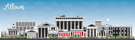 Athens Greece City Skyline with Color Buildings and Blue Sky. Vector Illustration. Business Travel and Tourism Concept with Historic and Modern Architecture. Athens Cityscape with Landmarks. Vettoriali