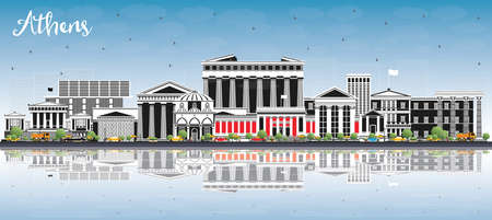 Athens Greece City Skyline with Color Buildings, Blue Sky and Reflections. Vector Illustration. Business Travel and Tourism Concept with Historic and Modern Architecture. Athens Cityscape with Landmarks.