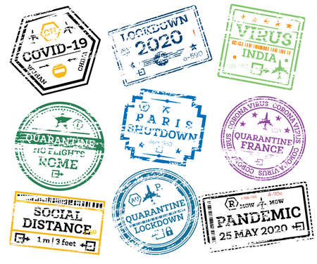 Covid-19 Collection of Grunge Passport Stamps Isolated on White. Corona Virus, Lock Down, Social Distance Concept. Vector Illustration.
