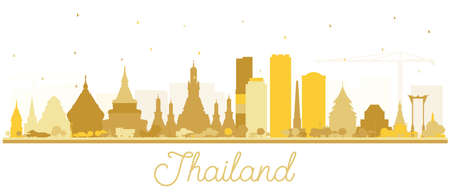 Thailand City Skyline Silhouette with Golden Buildings Isolated on White. Vector Illustration. Tourism Concept with Historic Architecture. Thailand Cityscape with Landmarks.