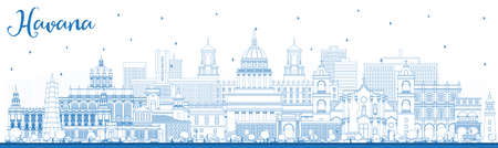 Outline Havana Cuba City Skyline with Blue Buildings. Illustration. Business Travel and Tourism Concept with Historic and Modern Architecture. Havana Cityscape with Landmarks.
