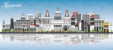 Havana Cuba City Skyline with Color Buildings, Blue Sky and Reflections. Illustration. Business Travel and Tourism Concept with Historic and Modern Architecture. Havana Cityscape with Landmarks. Vector Illustration