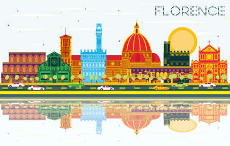 Florence Italy City Skyline with Color Buildings, Blue Sky and Reflections. Illustration. Business Travel and Tourism Concept with Modern Architecture. Florence Cityscape with Landmarks.