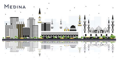 Medina Saudi Arabia City Skyline with Gray Buildings and Reflections Isolated on White. Vector Illustration. Tourism Concept with Modern and Historic Architecture. Medina Cityscape with Landmarks.