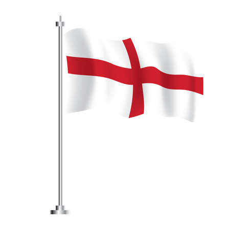 England Flag. Isolated Wave Flag of England Country. Vector Illustration.