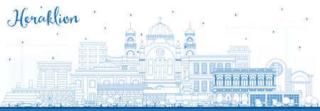 Outline Heraklion Greece Crete City Skyline with Blue Buildings. Illustration. Tourism Concept with Historic and Modern Architecture. Heraklion Cityscape with Landmarks. 向量圖像