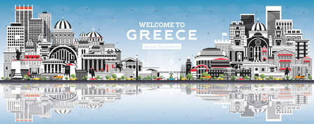Welcome to Greece City Skyline with Gray Buildings, Blue Sky and Reflections. Vector Illustration. Historic Architecture. Greece Cityscape with Landmarks. Athens. Thessaloniki. Patras. Heraklion. 向量圖像