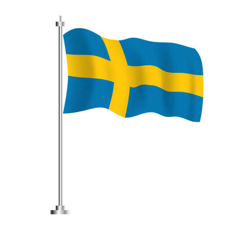 Swedish Flag. Isolated Wave Flag of Sweden Country. Vector Illustration.