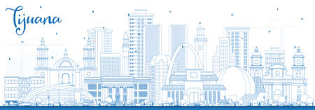Outline Tijuana Mexico City Skyline with Blue Buildings. Illustration. Tourism Concept with Historic and Modern Architecture. Tijuana Cityscape with Landmarks. Ilustración de vector