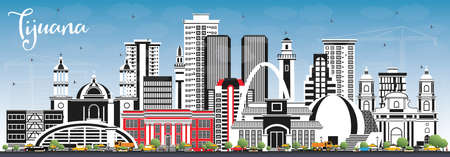 Tijuana Mexico City Skyline with Color Buildings and Blue Sky. Vector Illustration. Tourism Concept with Historic and Modern Architecture. Tijuana Cityscape with Landmarks.