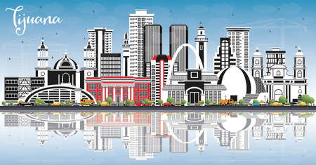 Tijuana Mexico City Skyline with Color Buildings, Blue Sky and Reflections. Illustration. Tourism Concept with Historic and Modern Architecture. Tijuana Cityscape with Landmarks.