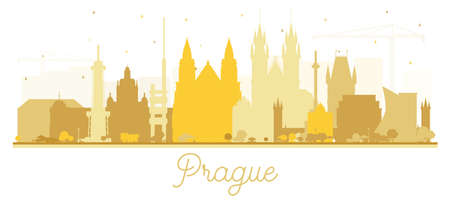 Prague Czech Republic City Skyline Silhouette with Golden Buildings Isolated on White. Vector Illustration. Travel and Tourism Concept with Historic Architecture. Prague Cityscape with Landmarks.
