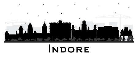Indore India City Skyline Silhouette with Black Buildings Isolated on White. Vector Illustration. Business Travel and Tourism Concept with Historic and Modern Architecture. Indore Cityscape with Landmarks.