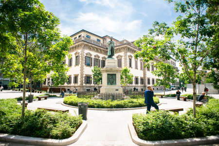 Milan. Italy - May 21, 2019: Monument to Cesare Beccaria in Milan. Editorial