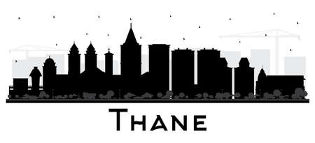 Thane India City Skyline Silhouette with Black Buildings Isolated on White. Vector Illustration. Business Travel and Tourism Concept with Historic and Modern Architecture. Thane Cityscape with Landmarks.