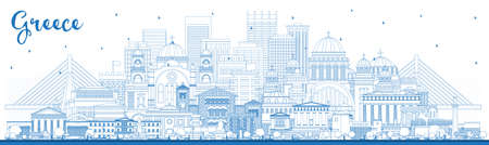 Outline Welcome to Greece City Skyline with Blue Buildings. Vector Illustration. Concept with Historic Architecture. Greece Cityscape with Landmarks. Athens. Thessaloniki. Patras. Heraklion.