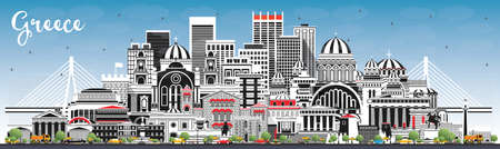 Welcome to Greece City Skyline with Gray Buildings and Blue Sky. Vector Illustration. Concept with Historic Architecture. Greece Cityscape with Landmarks. Athens. Thessaloniki. Patras. Heraklion. Vettoriali