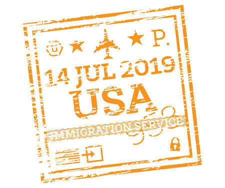 USA Passport Stamp Isolated on White. Vector Illustration. Immigration Service.